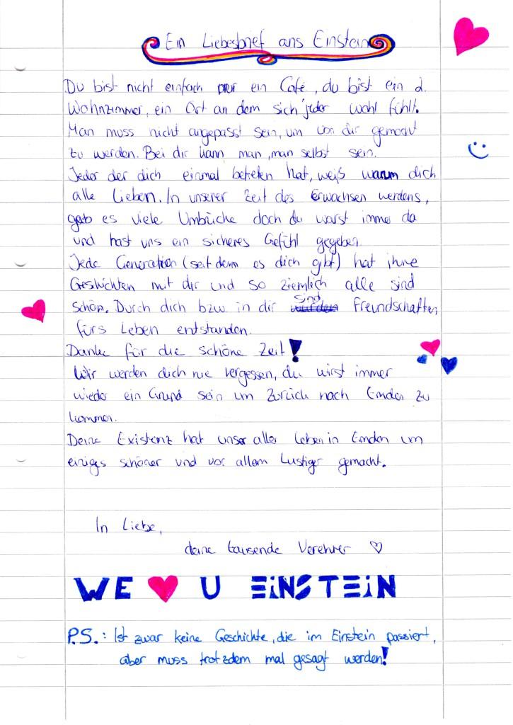 Ein Liebesbrief ans Einstein